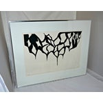 Image of Black and White Abstract Relief Art on Paper