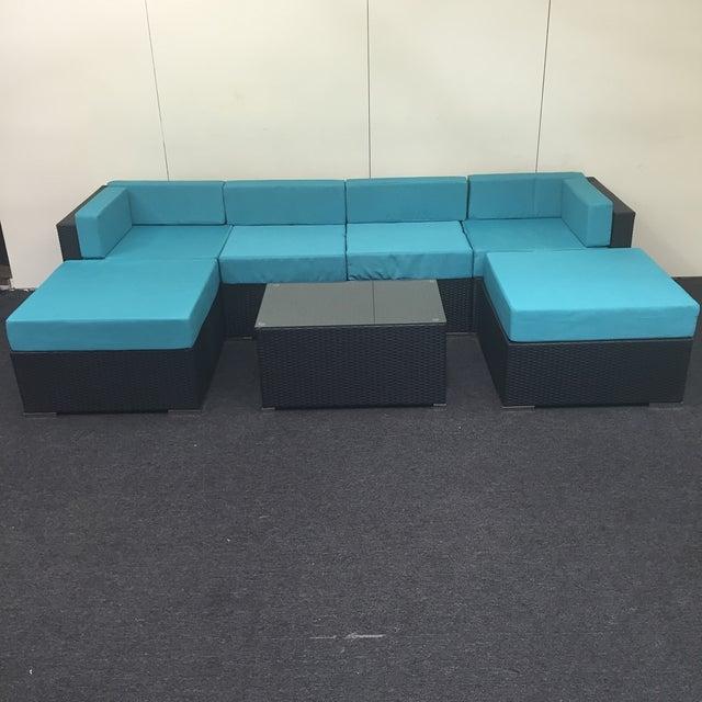 Turquoise Wicker Patio Set - Image 3 of 9