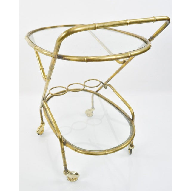 Image of Vintage French Brass Bamboo Style Bar Cart