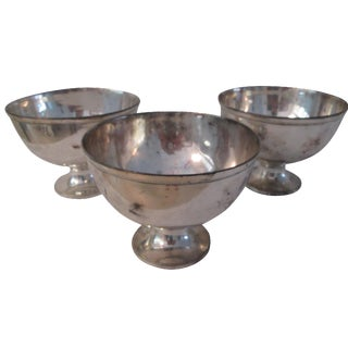 Indian Silver-Plate Footed Bowls - Set of 3