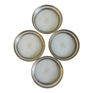 Silver & Crystal Coasters - Set of 4