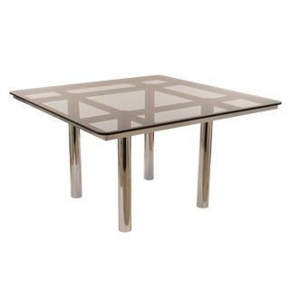 Italian Chrome & Smoke Glass Dining Table by Gavina