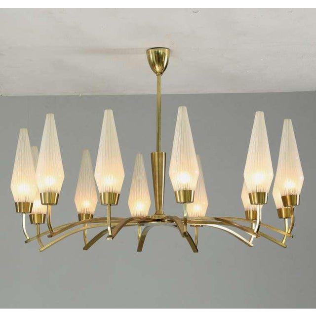 Large Twelve-Arm Brass with Opaline Glass Chandelier, Italy, 1950s - Image 3 of 7