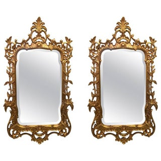 Chinese Chippendale Style Giltwood Mirrors - a Pair