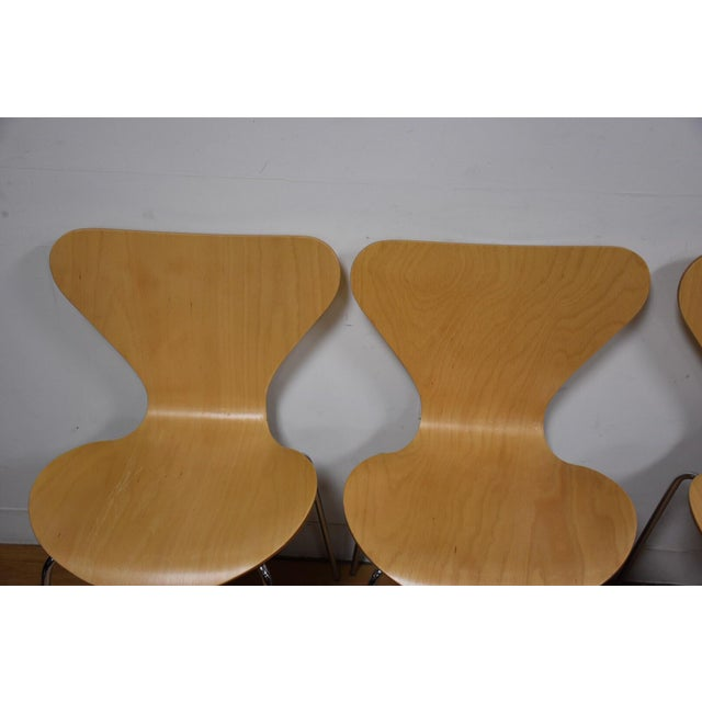 Arne Jacobsen Style Birch Dining Chairs - Set of 4 - Image 6 of 11