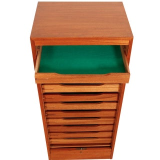 Tall Teak Tambour Door Jewelry Chest