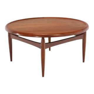 Reversible Flip-Top Danish Modern Round Teak Coffee Table