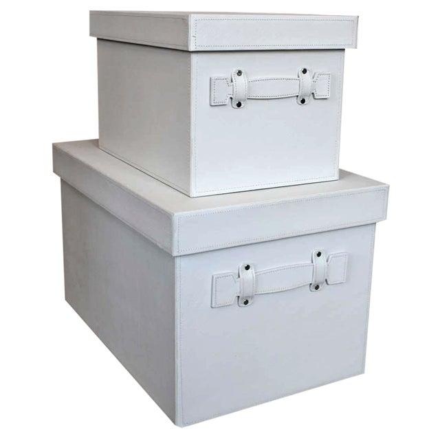 White Stacking Storage Boxes - Image 1 of 4