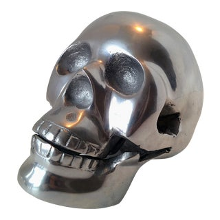 Cast Metal Human Skull Figure