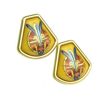 Hermes Gold & Yellow Enamel Clip-On Earrings