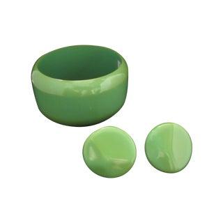 Vintage Green Bakelite Bracelet and Earring Set
