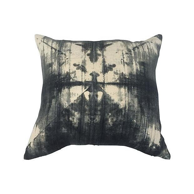 African Grey Tie Dye Mud Cloth Pillows - A Pair - Image 3 of 5