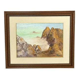 Vintage Framed California Seascape Oil Painting, Signed