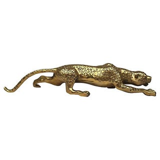 Mid-Century Brass Jaguar Statue