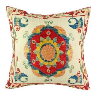 "Uzbek Suzani Pillow IV - 16"" x 16"""