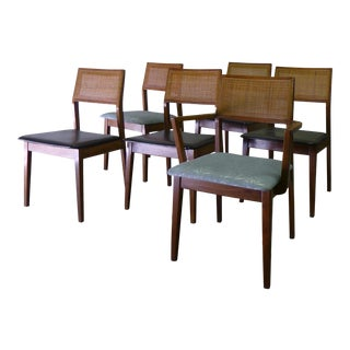 Mid-Century Caned Walnut Dining Chairs - Set of 6