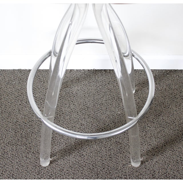 Lucite & Wood Bar Stool - Image 7 of 9