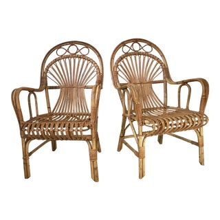Vintage Franco Albini- Style Rattan Armchairs - a Pair