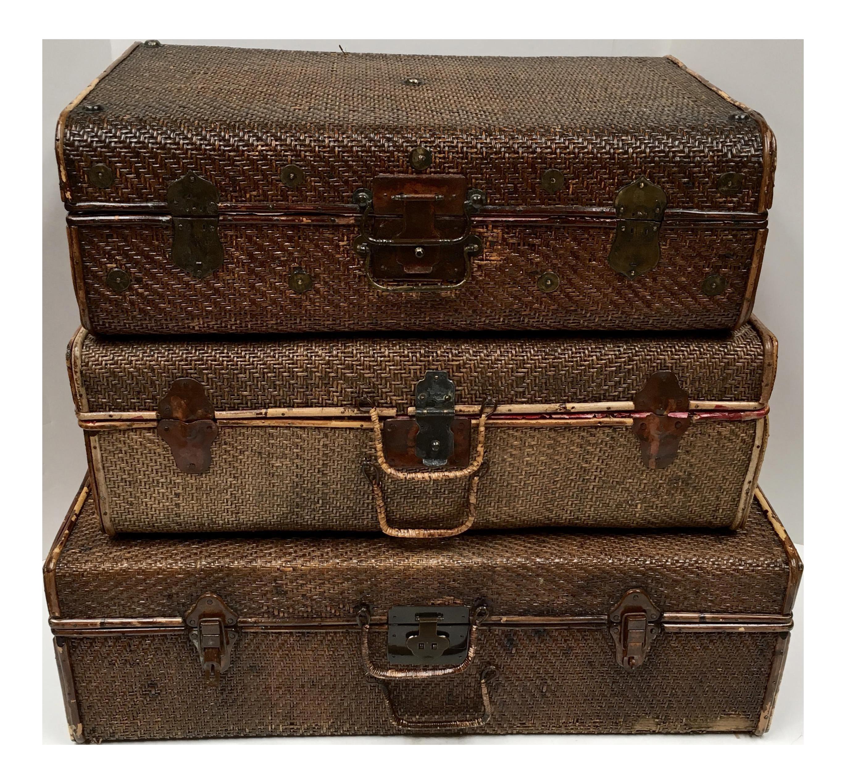 vintage luggage. stacking vintage wicker suitcases - set of 3 luggage