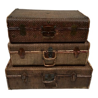Stacking Vintage Wicker Suitcases - Set of 3