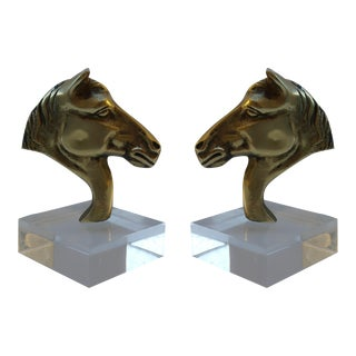 Vintage Brass & Lucite Bookends - Pair