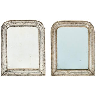 Antique Louis Philippe Silver Leaf Mirrors- Set of 2