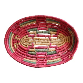 Pink & Green Native American Coil Basket
