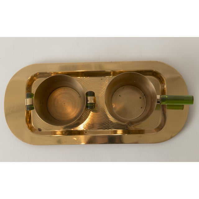 Image of Vintage Emerald Glo Copper Over Silver Serving Set