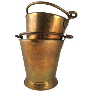Vintage Brass Fire Buckets - A Pair
