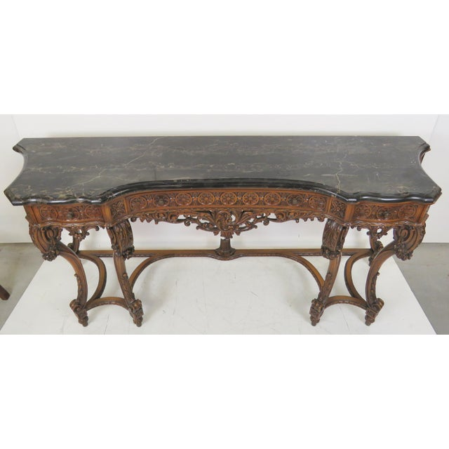 Marbletop Carved Mahogany Console - Image 2 of 8