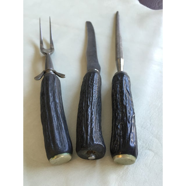 Image of Black Antler Handle Carving Utensils - Set of 3