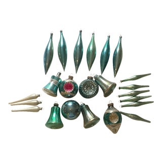 Vintage Blue Aqua Ornaments - Set of 23