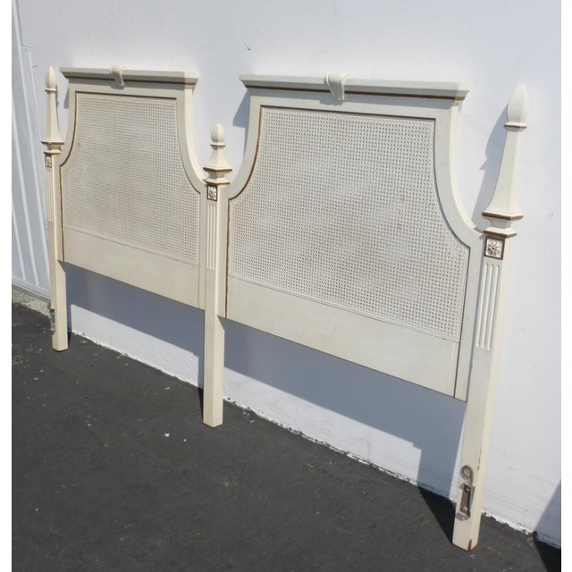 French Provincial White & Gold Cane Headboard - Image 3 of 11