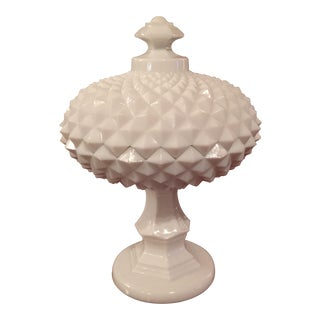 Fenton Lidded Milk Glass Candy Dish
