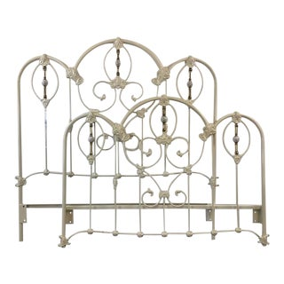 Elliots Designs Inc. White Enameled Metal Headboard & Footboard