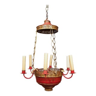 Red Painted Tole Chandelier, mid 20th century