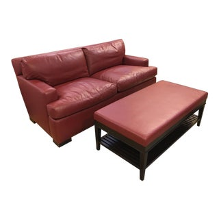 A. Rudin Red Leather Sofa & Ottoman