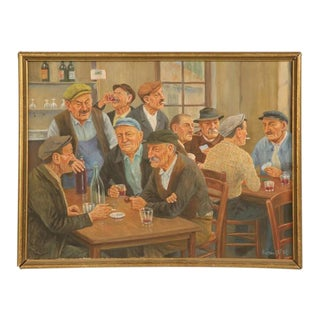 French Bar Scene Painting