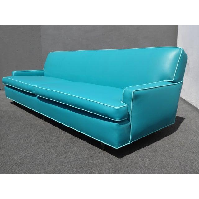 Mid-Century Turquoise Vinyl Sofa - Image 3 of 11