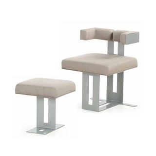 Modern Steel Upholstered Lounge Chair & Ottoman