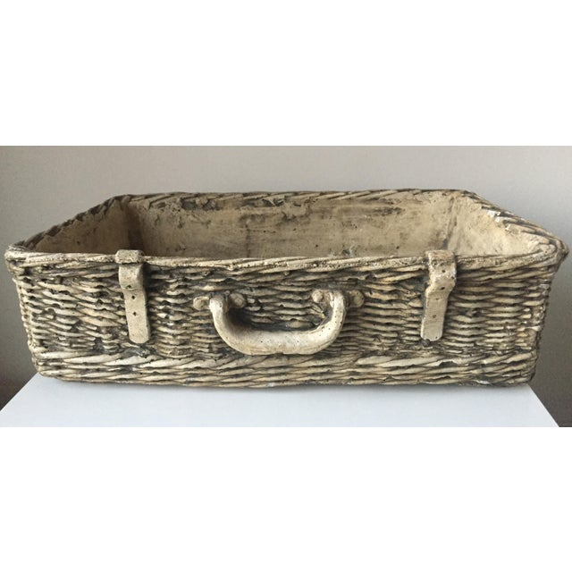 Vintage Concrete Basket Planter - Image 2 of 6