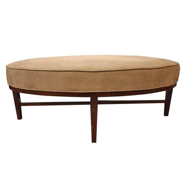 Image of Thayer Coggin Oval Ultra Suede Ottoman