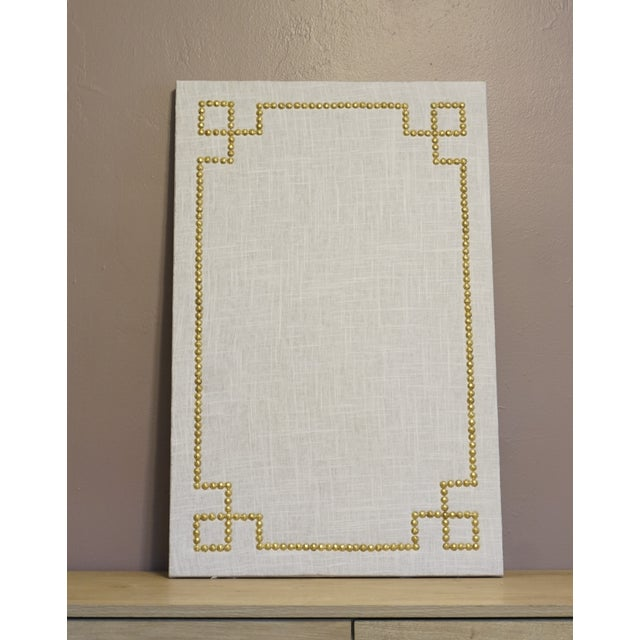 Linen and nailhead cork board w greek key design chairish for Linen cork board
