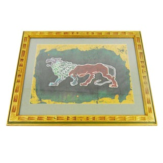 Framed Batik Art of Lion Piece