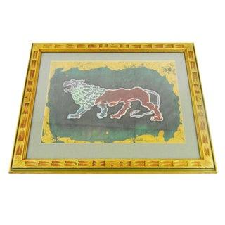 Framed Batik Art of Lion Piece
