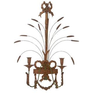 Giltwood and Metal Wheat Motif Candle Sconce