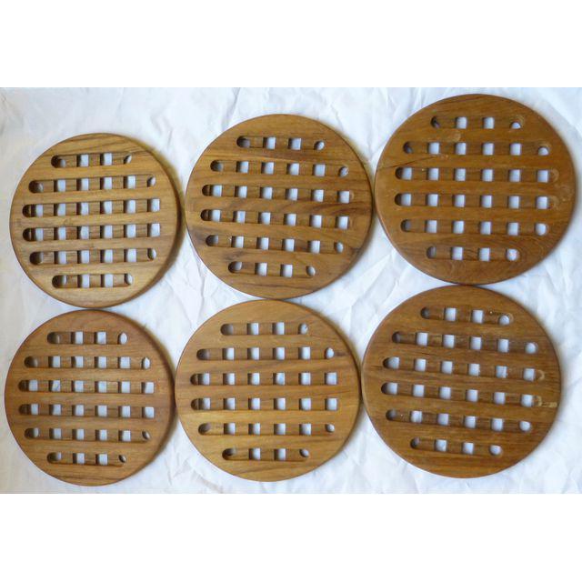 Mid-Century Danish Modern Teak Hot Plates - Set of 6 - Image 5 of 8