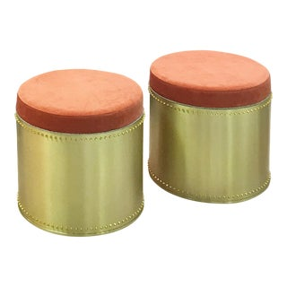 Taylor Burke Home Brass Rivet Stools - A Pair