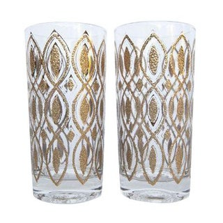 Gold Embossed High Ball Cocktail Glasses - A Pair