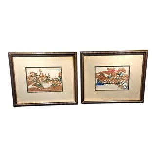 Framed Vintage Japanese Block Prints - A Pair